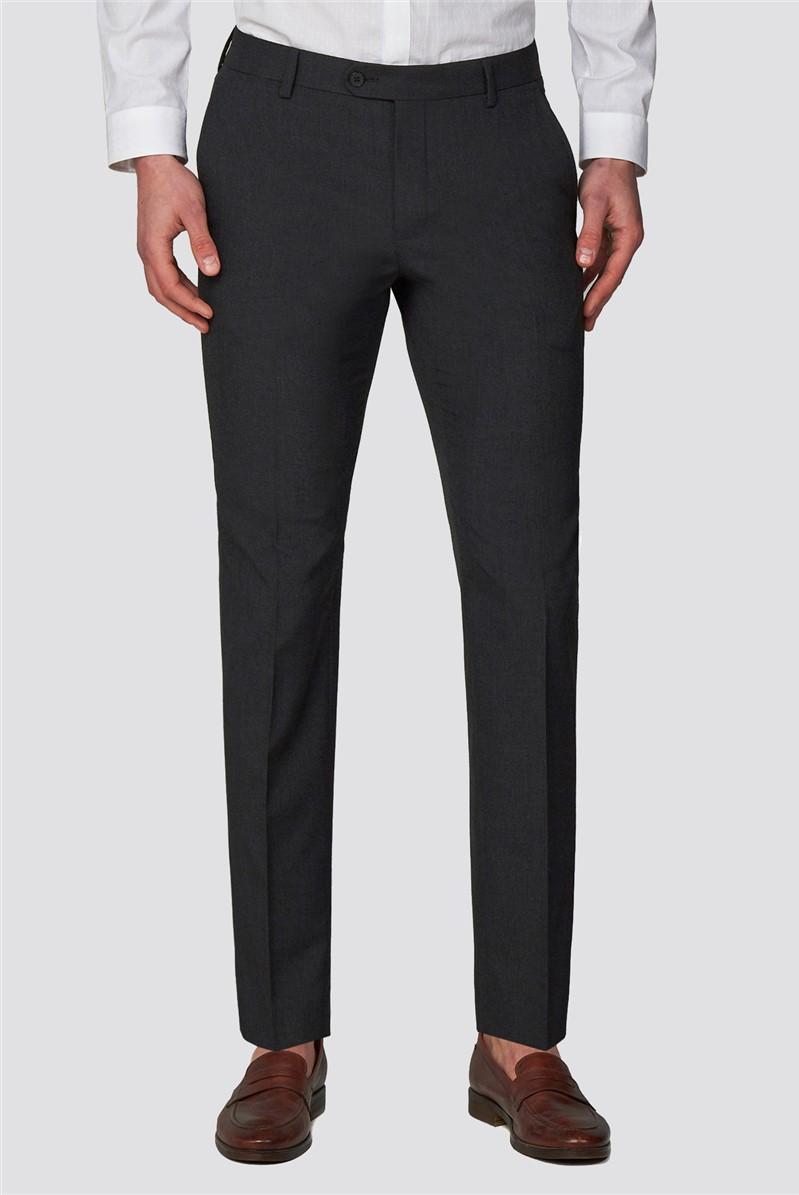 Charcoal Plain Slim Fit Trousers