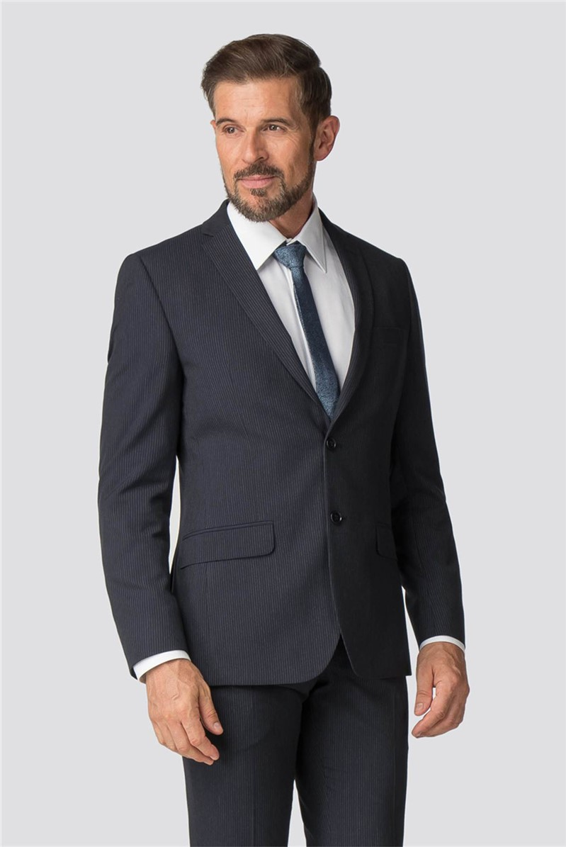 Navy Striped Tailored Fit Suit