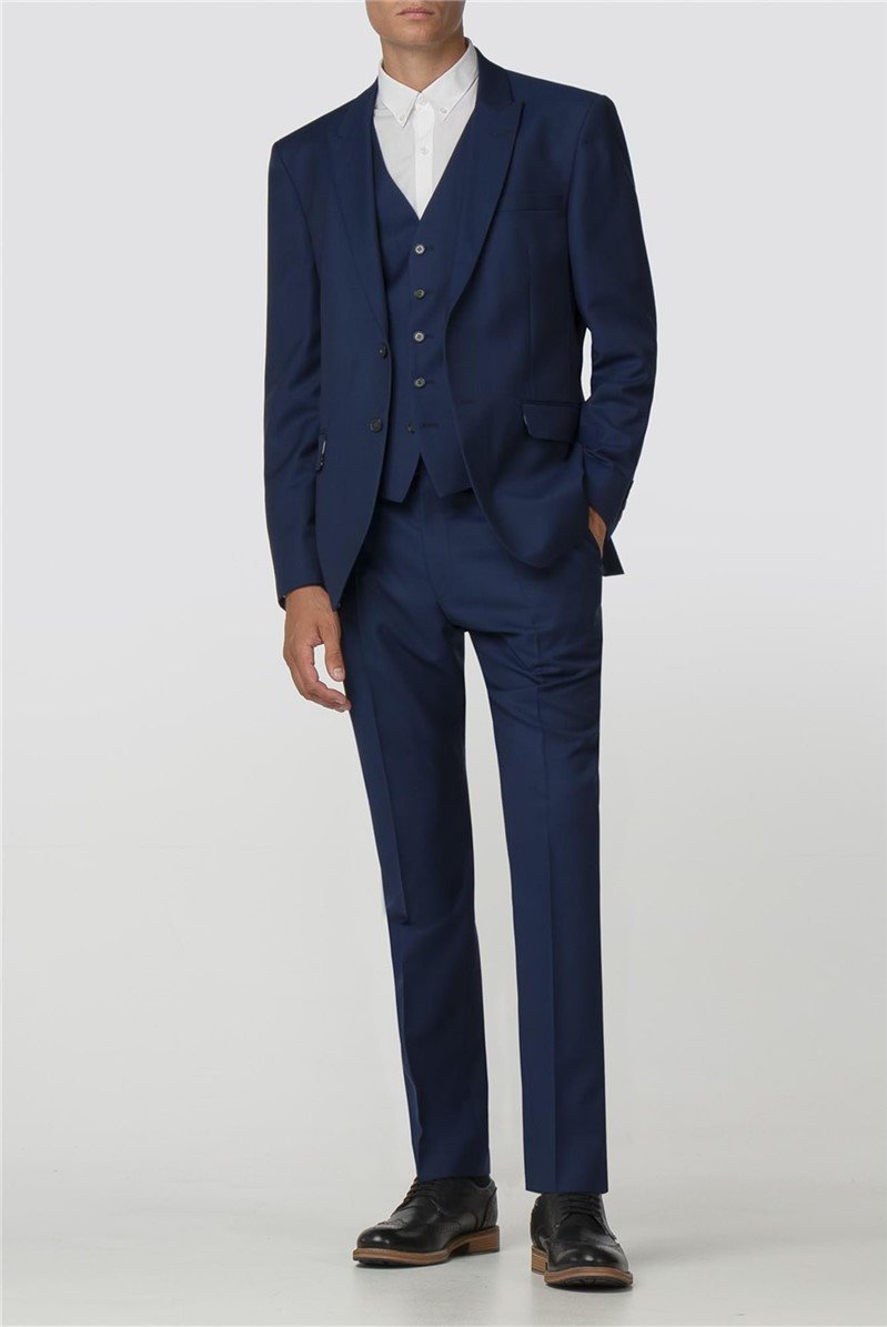 Blue Texture Modern Big And Tall Suit