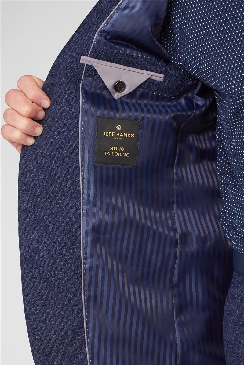 Airforce Blue Check Wool Blend Regular Fit Trouser