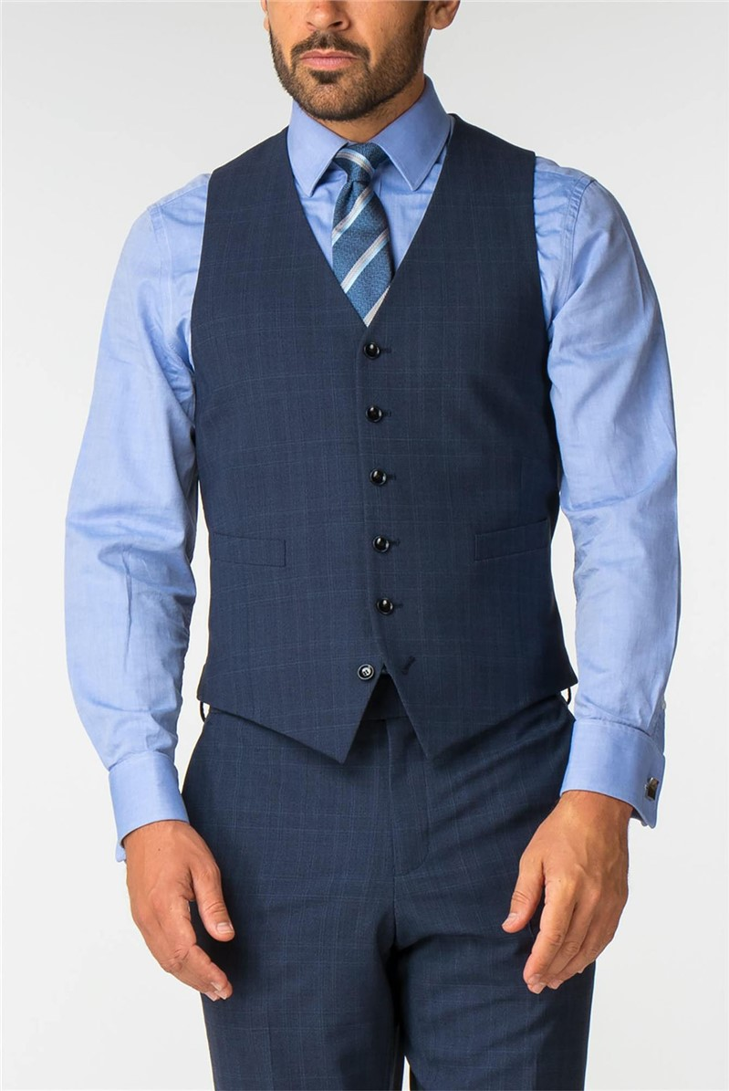 Airforce Blue Check Wool Blend Travel Suit Waistcoat