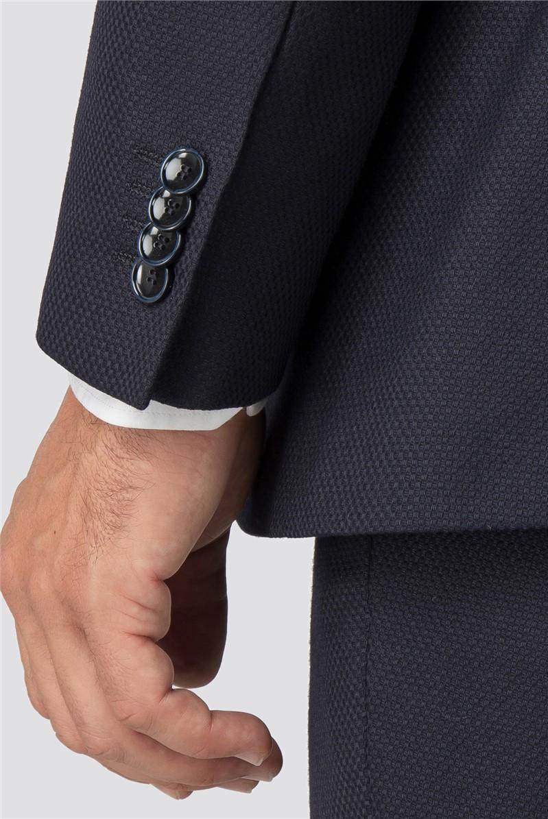 Navy Jacquard Texture Wool Blend Soho Suit