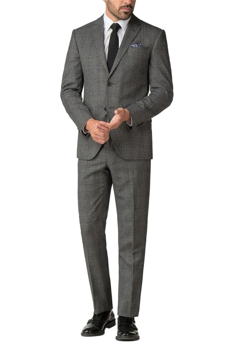 Grey Blue Check Wool Blend Regular Fit Suit