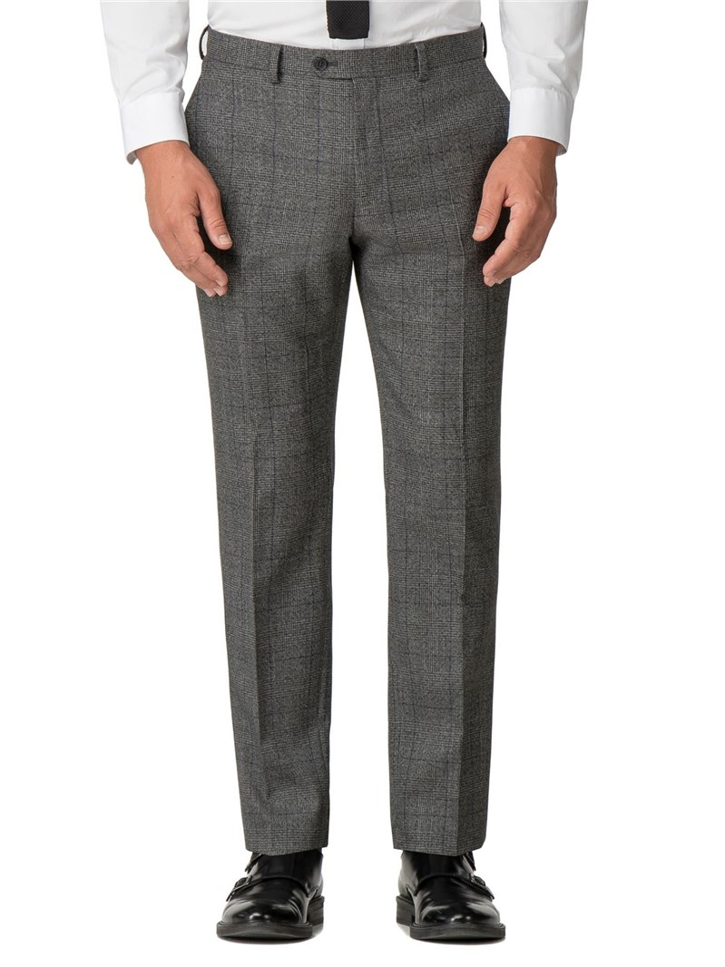 Grey & Blue Jaspe Checked Suit Trousers