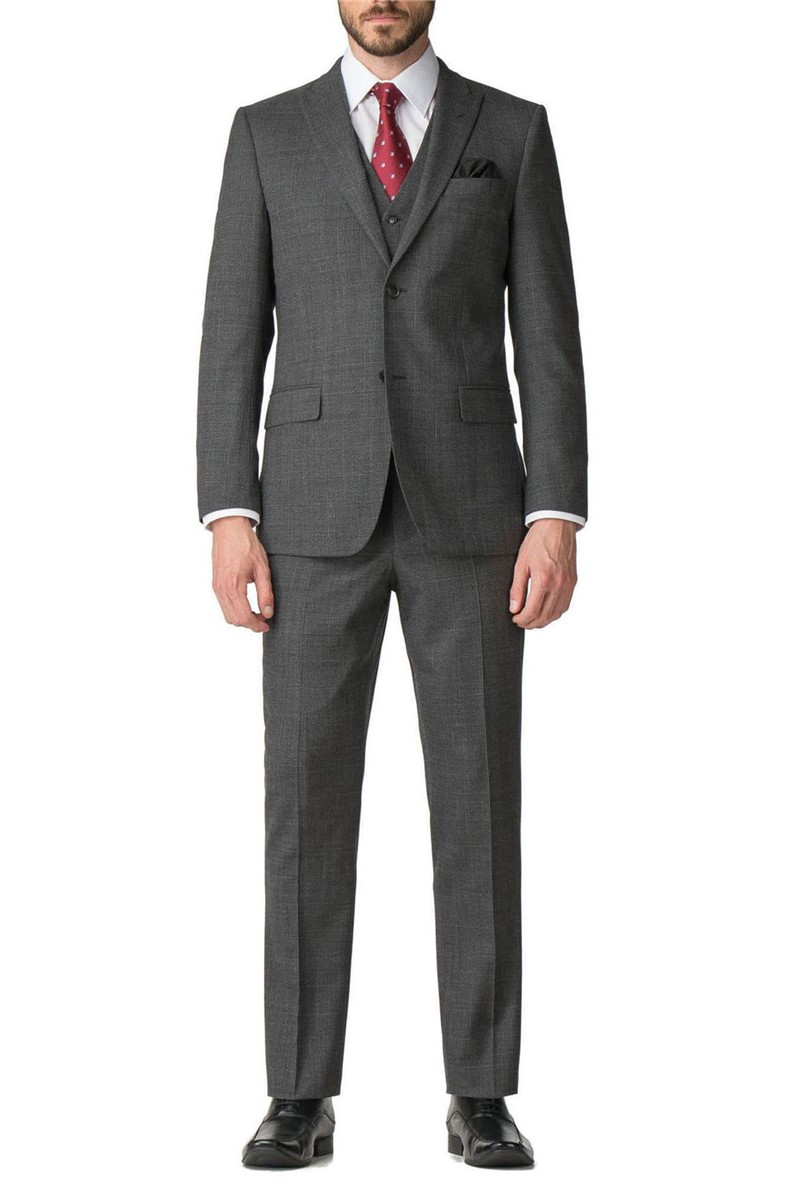 Grey Check Regular Fit Travel Suit