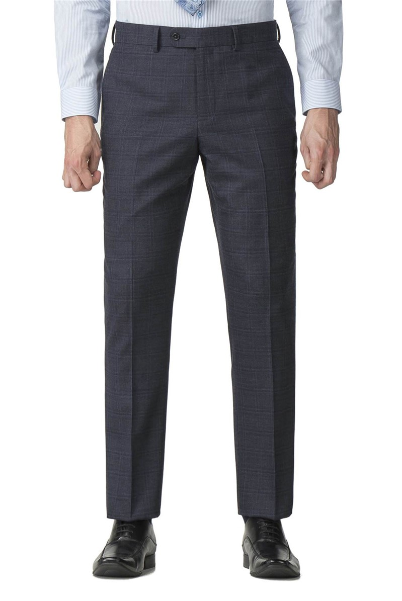 Blue Checked Regular Fit Travel Suit