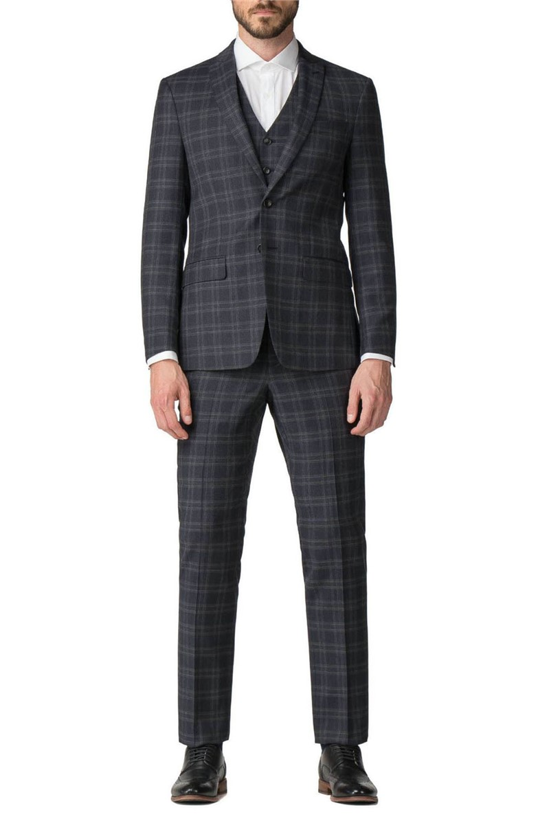 Stvdio Navy Green Check Slim Fit Ivy League Suit Jacket