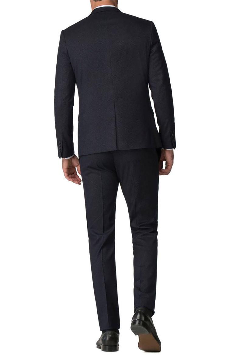 Stvdio Navy White Pindot Super Slim Fit Brit Trouser