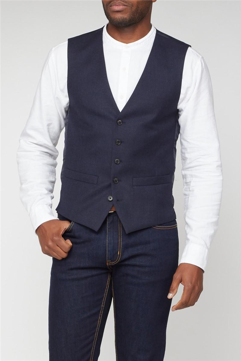 Navy Texture Weave Waistcoat