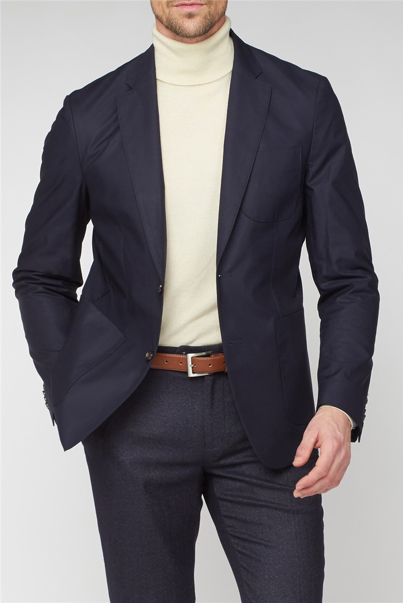 Casual Navy Cotton Suit Jacket