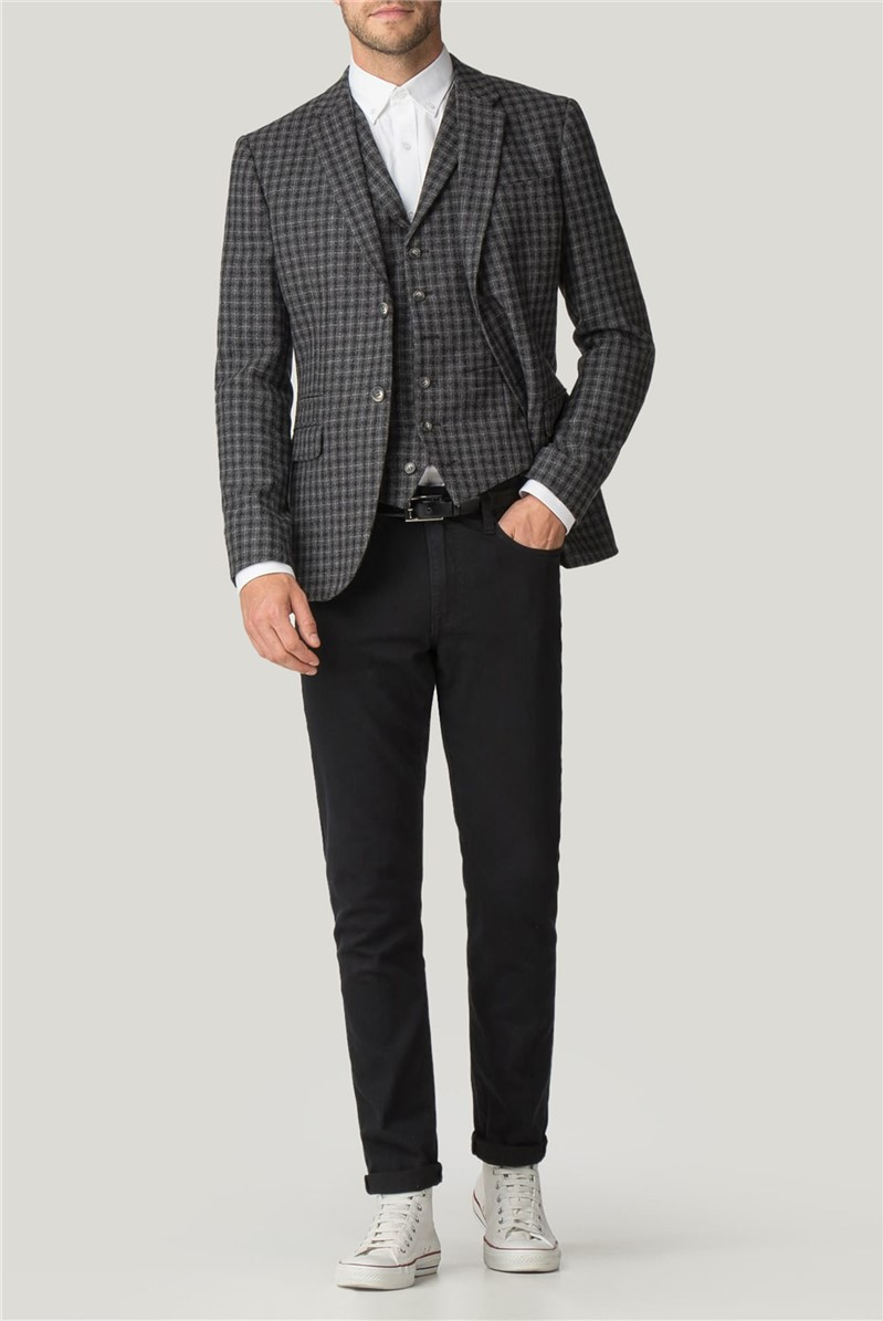 Grey Check Tailored Fit Jacket
