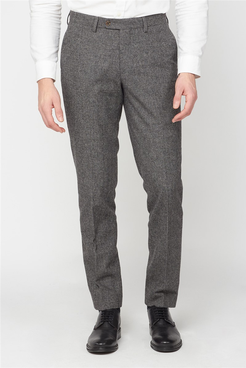 Grey Puppytooth Wool Blend Tailored Fit Trouser
