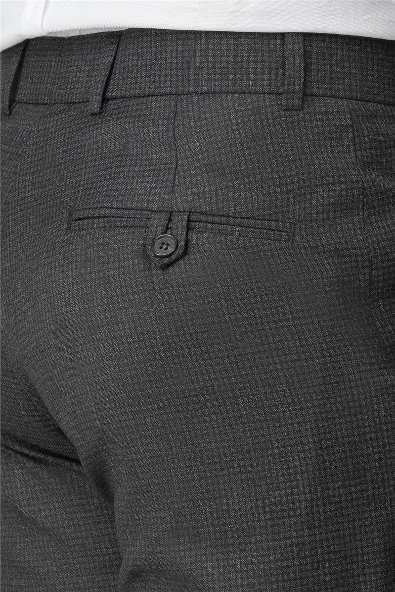 Charcoal Micro Check Regular Fit Trouser