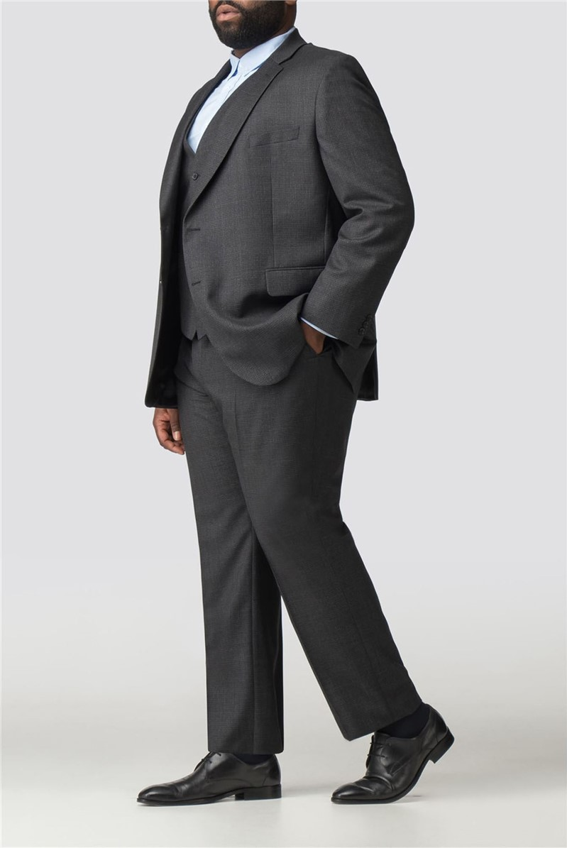 Big and Tall Charcoal Micro Check Suit
