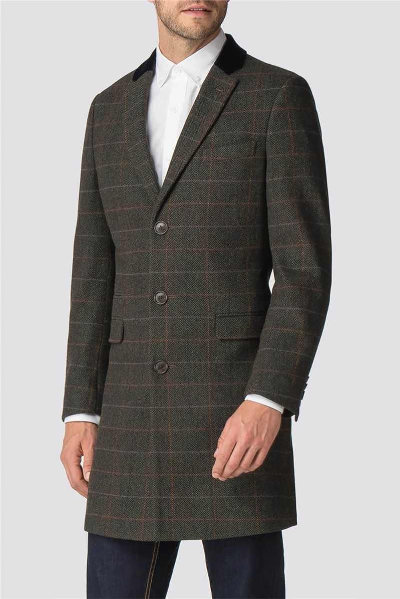Green Check Tailored Fit Overcoat