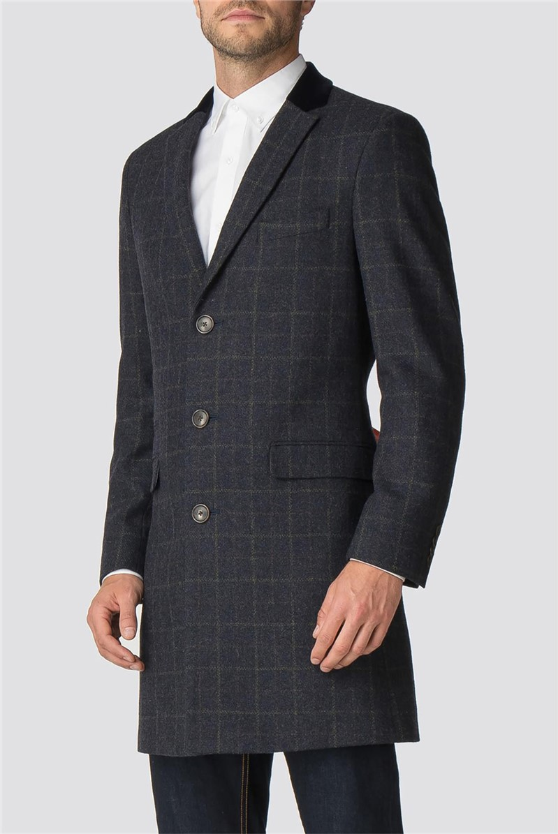 Blue Check Tailored Fit Overcoat