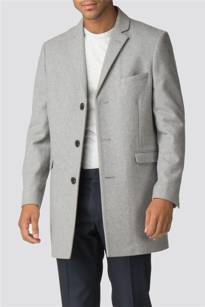 Grey Melton Slim Fit Overcoat