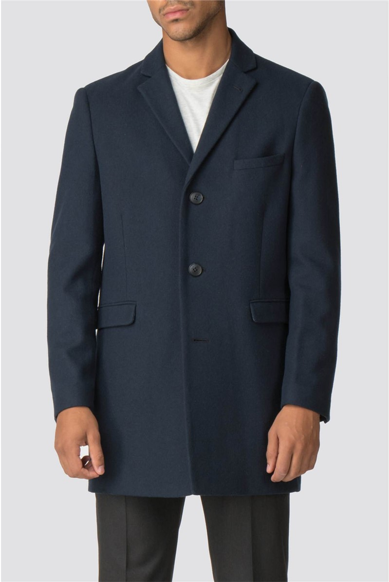 Navy Blue Melton Slim Fit Overcoat