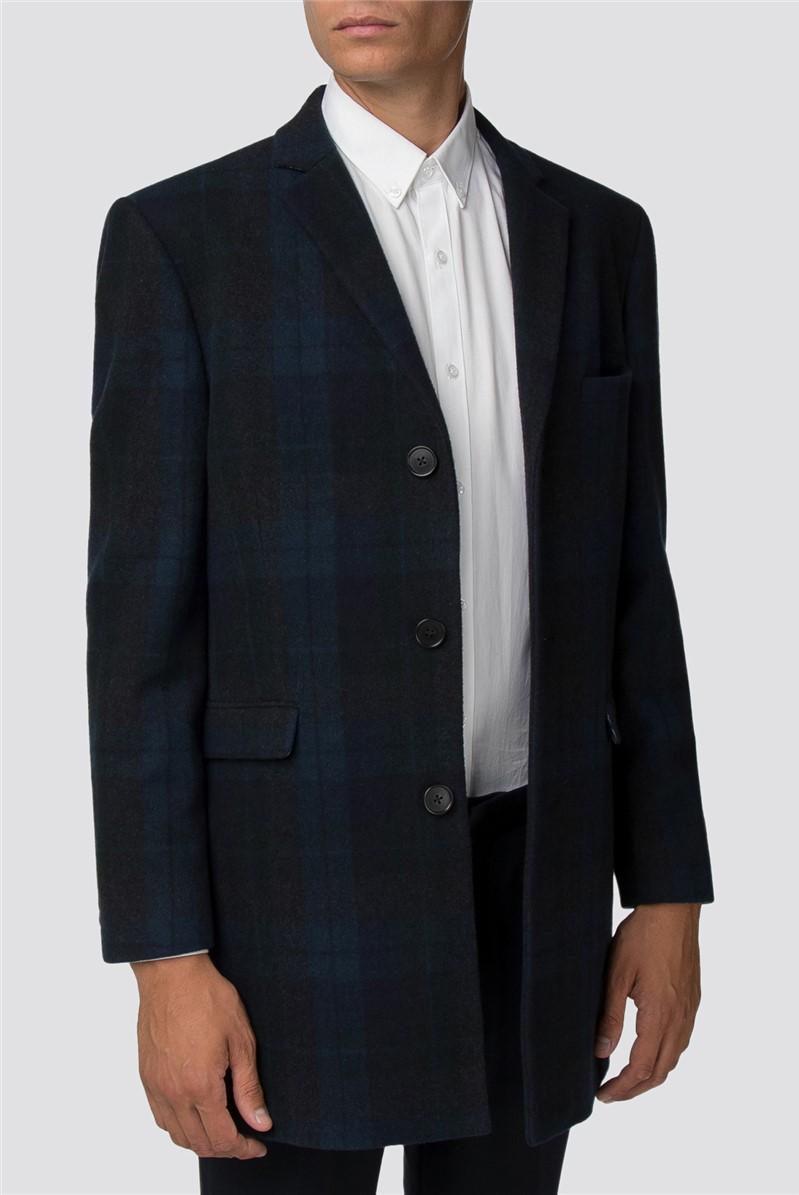Teal Tonal Check Melton Overcoat