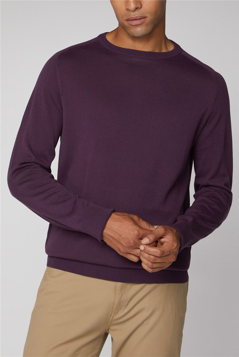 Purple Cotton Knitted Crew Neck