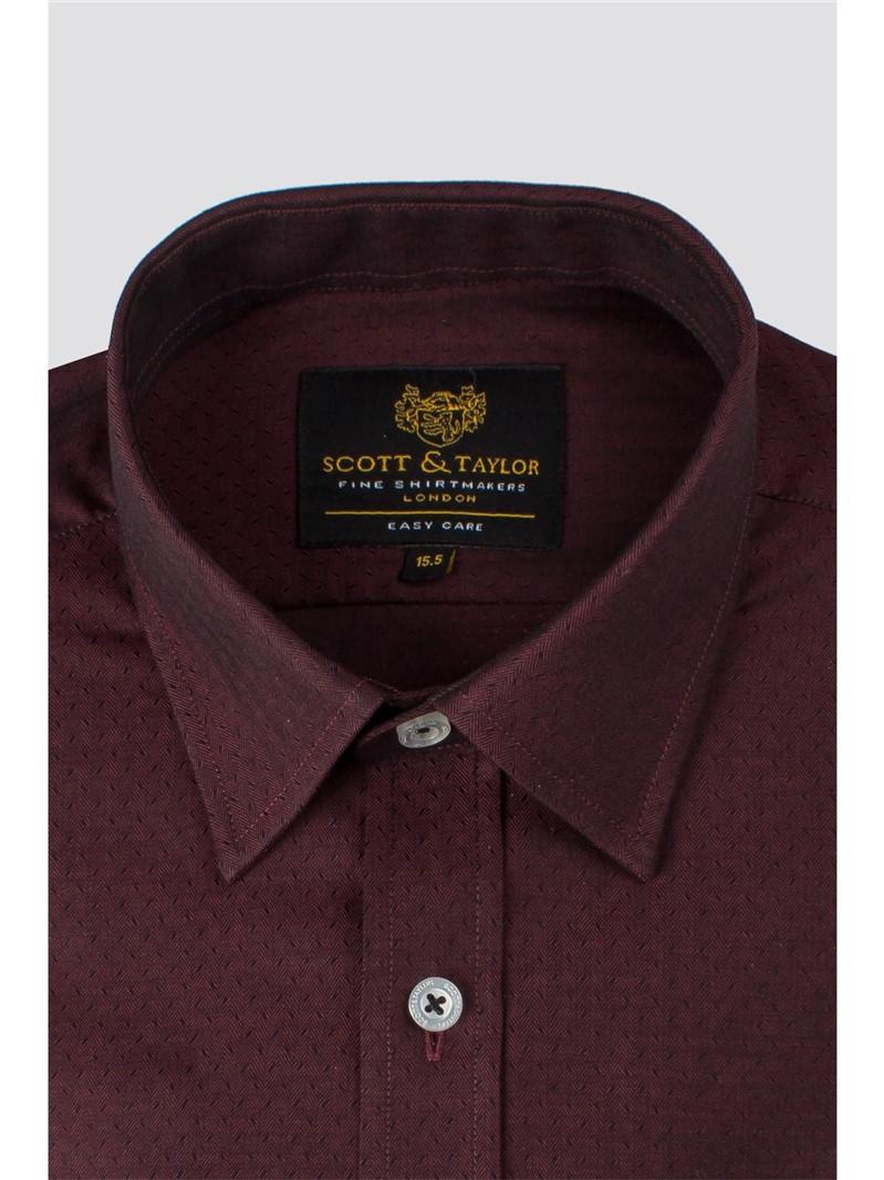 Regular Fit Wine Jacquard Shirt