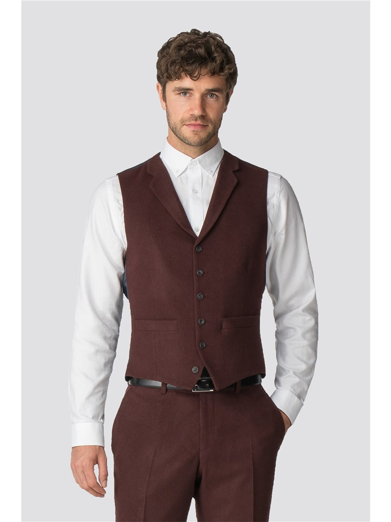 Racing Green Rust Flannel Tailored Fit Waistcoat