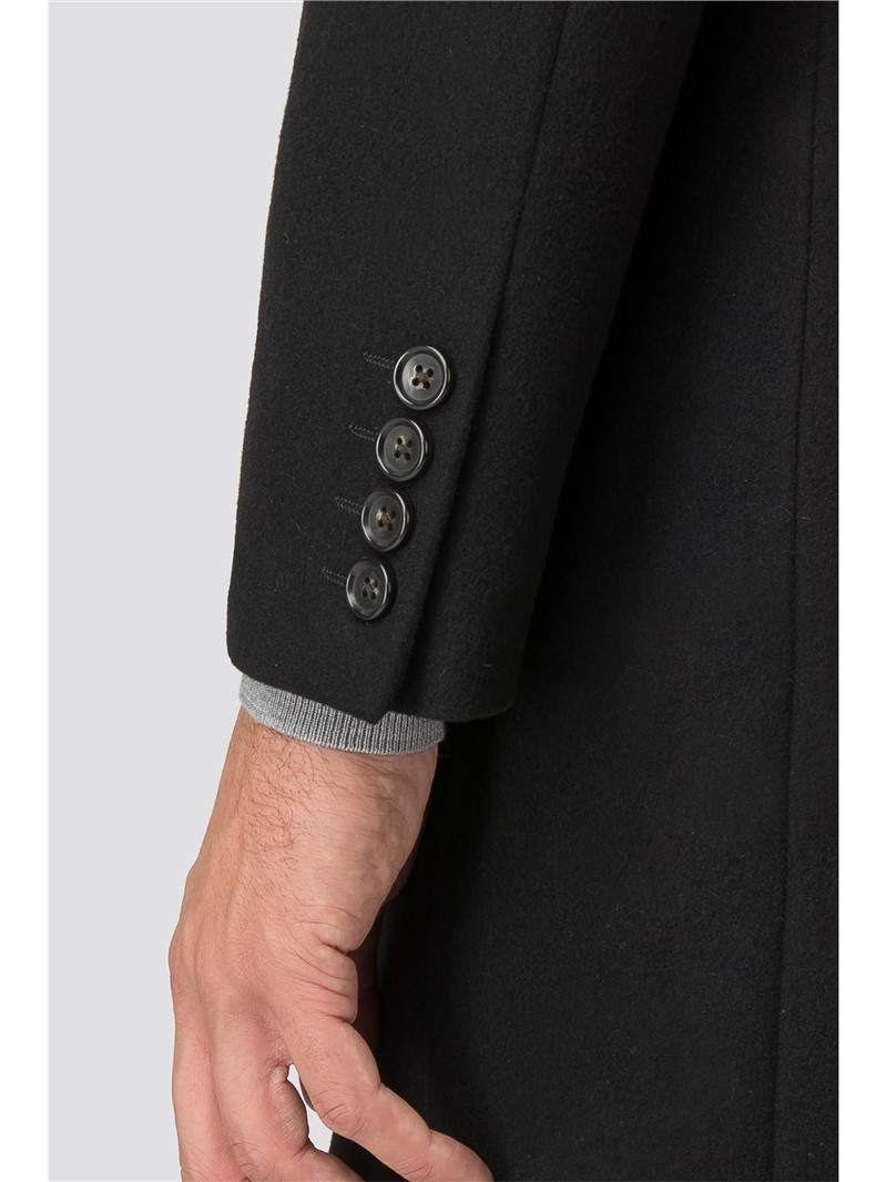 Black Melton Tailored Fit Overcoat