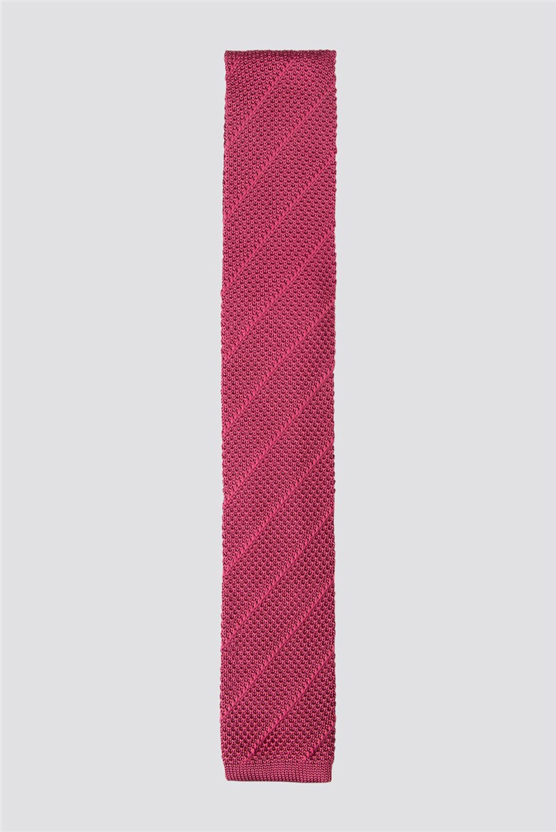 Wine Red Diagonal Stripe Knitted Tie