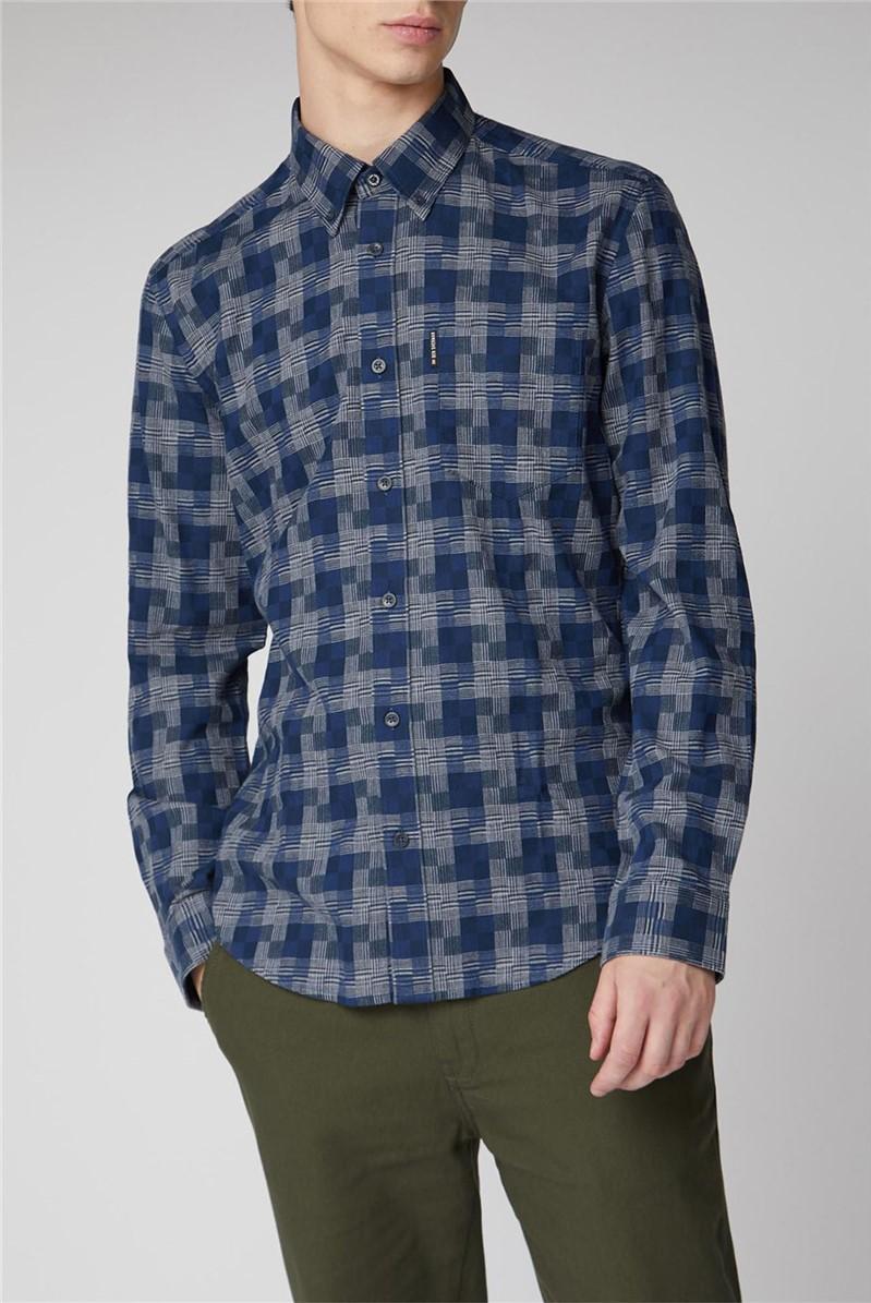 Long Sleeve Textured Check Shirt