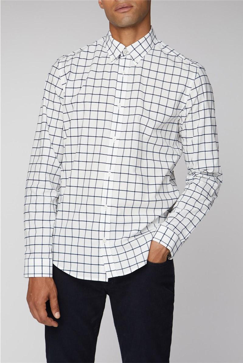 Long Sleeve Boucle Windowpane Shirt