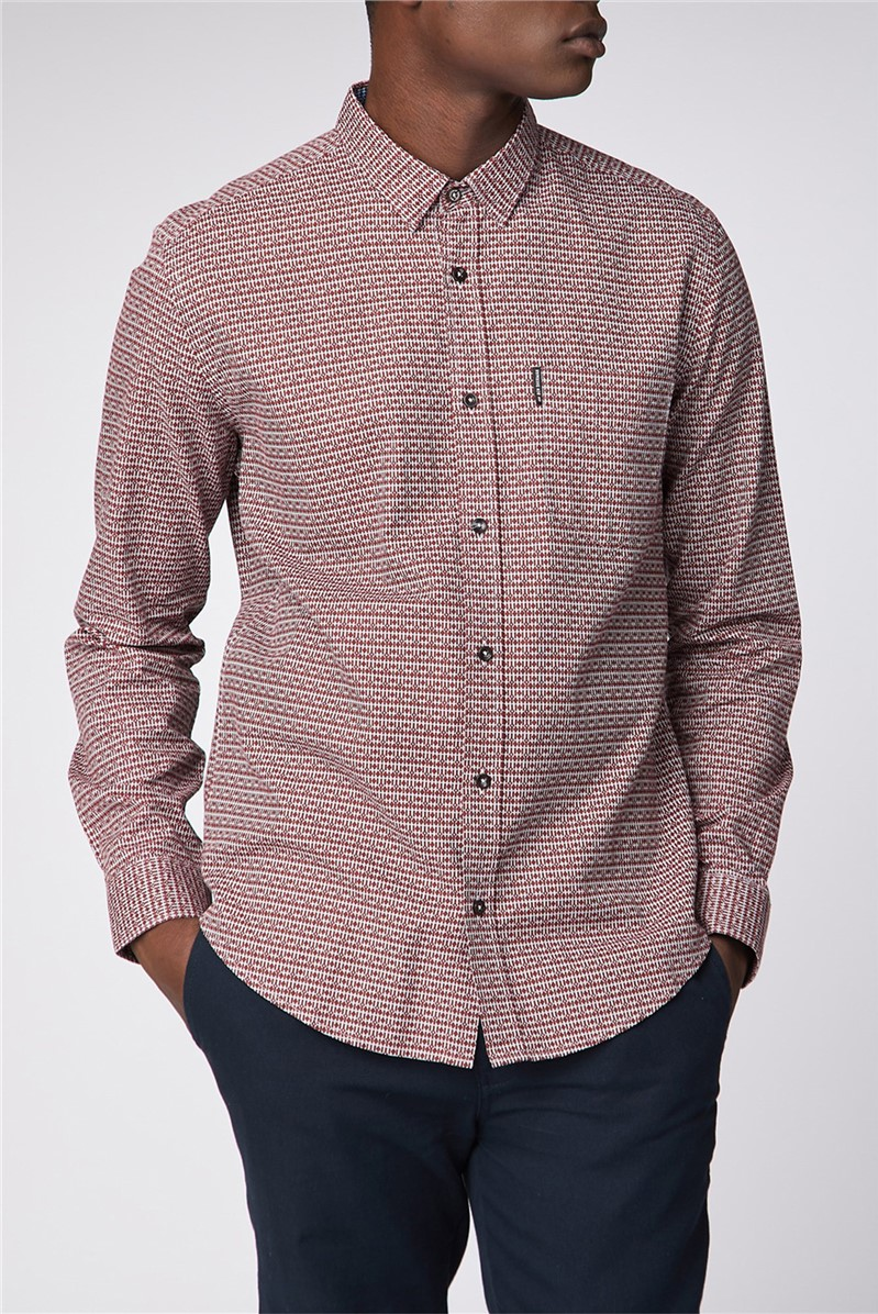Long Sleeve Oxford Retro Print Shirt