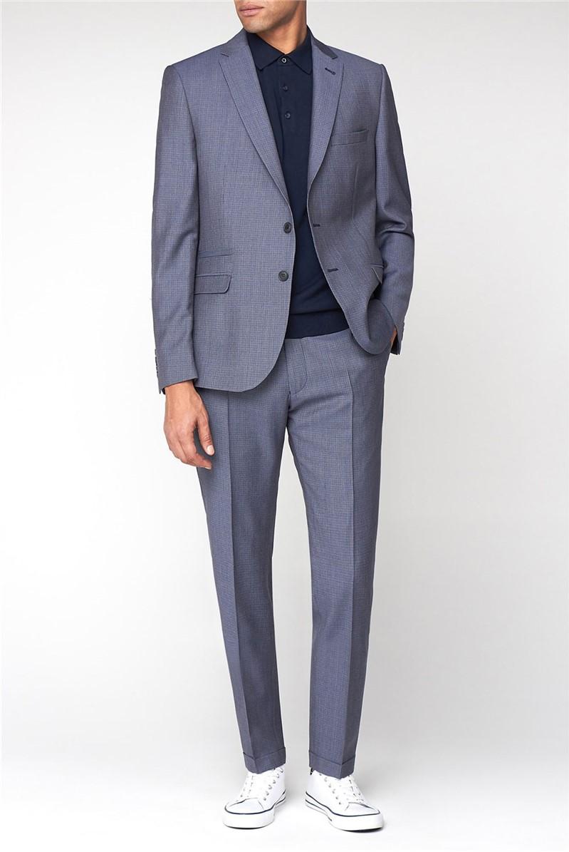 British Blue Gingham Wool Camden Suit