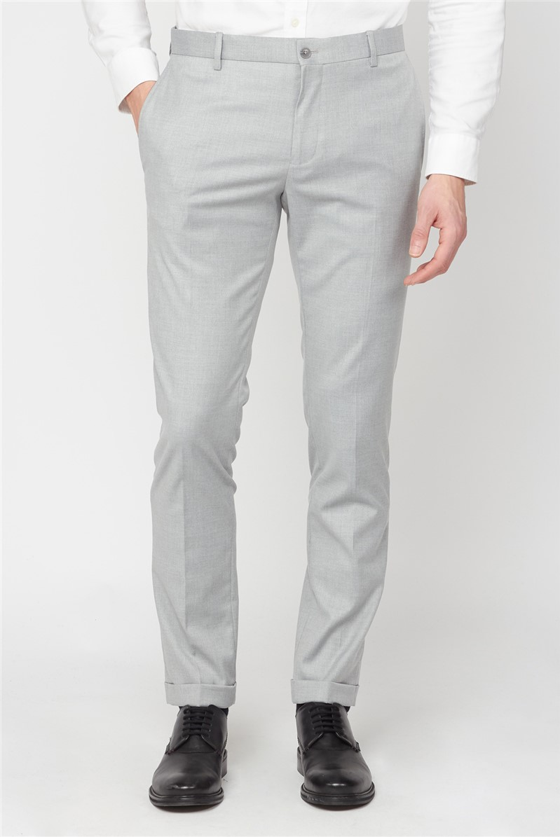 Cool Grey Texture Skinny Fit Trousers