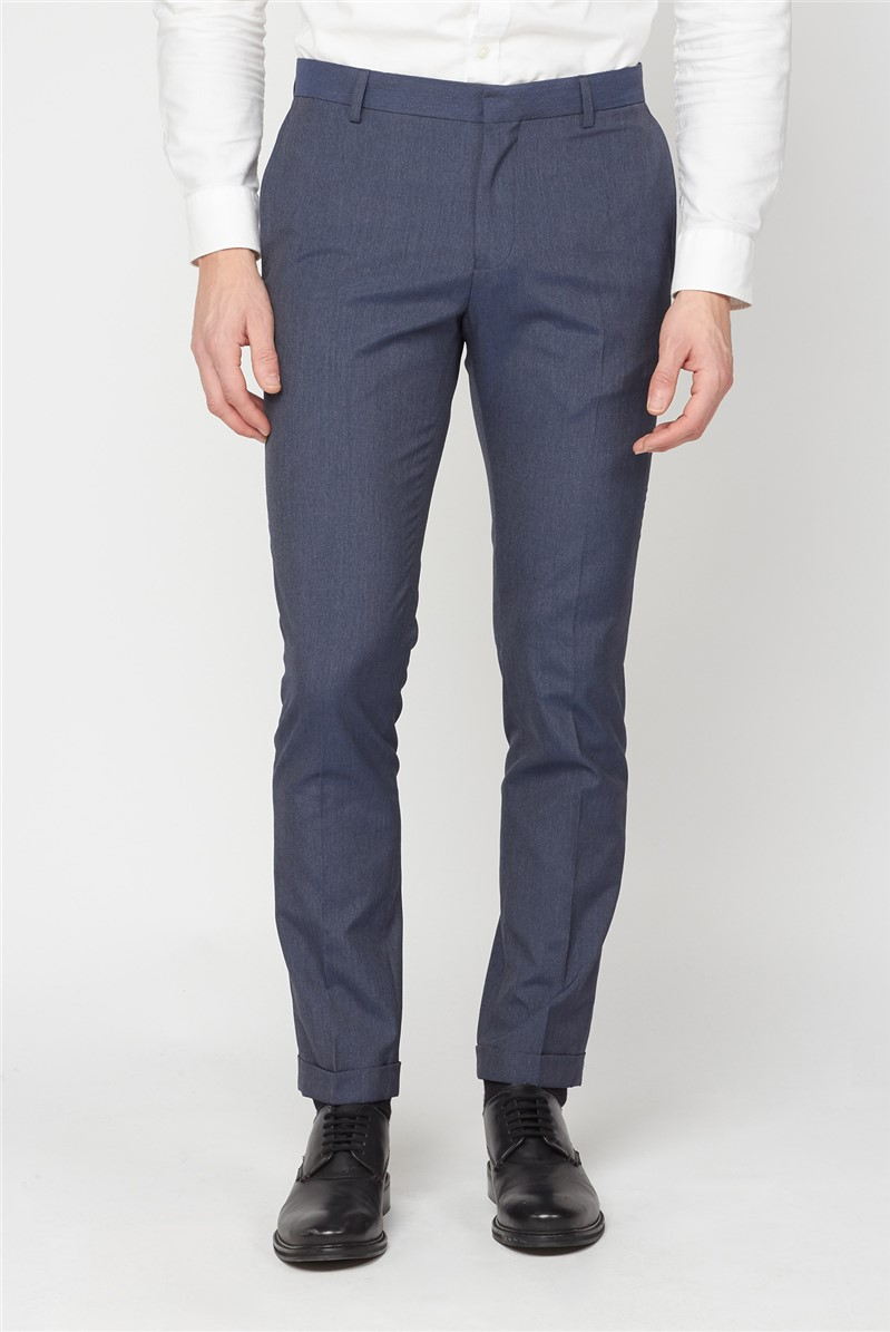 Blue Chambray Skinny Fit Formal Trousers