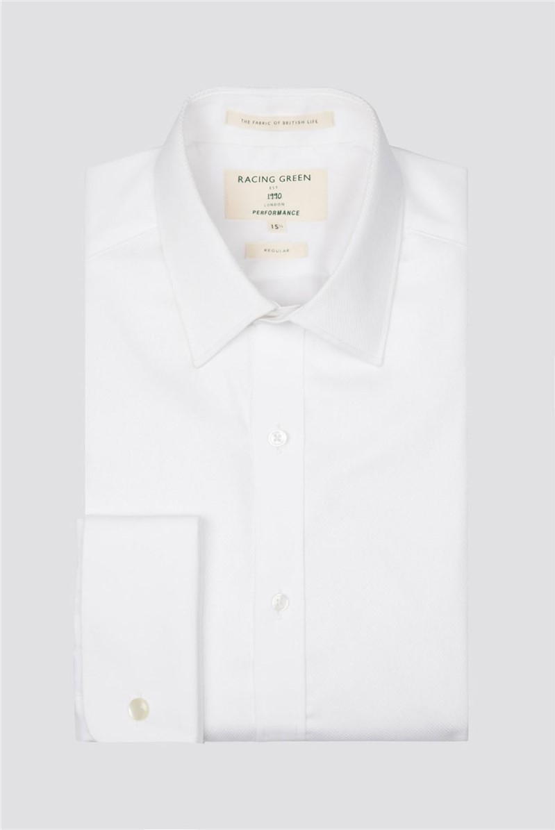 White Mason Performance Double Cuff Dress Shirt