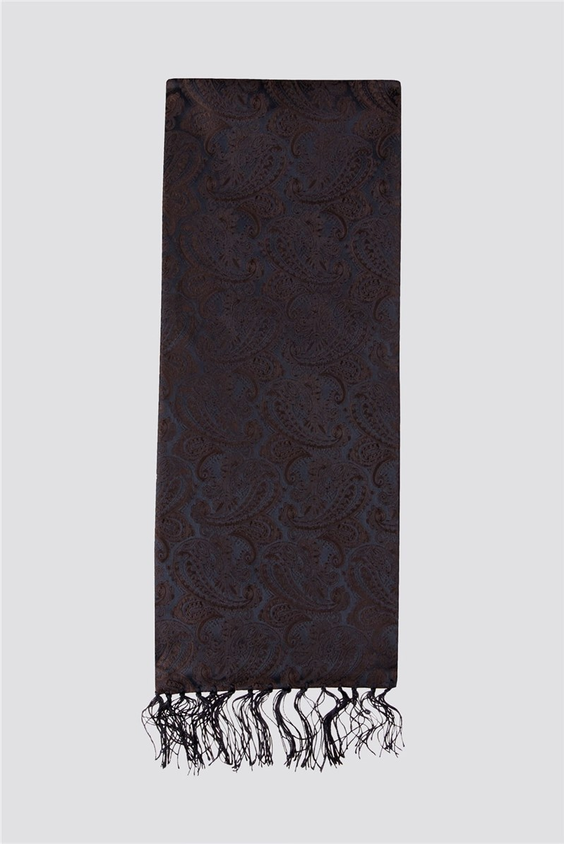 Navy Paisley Jacquard Dress Scarf