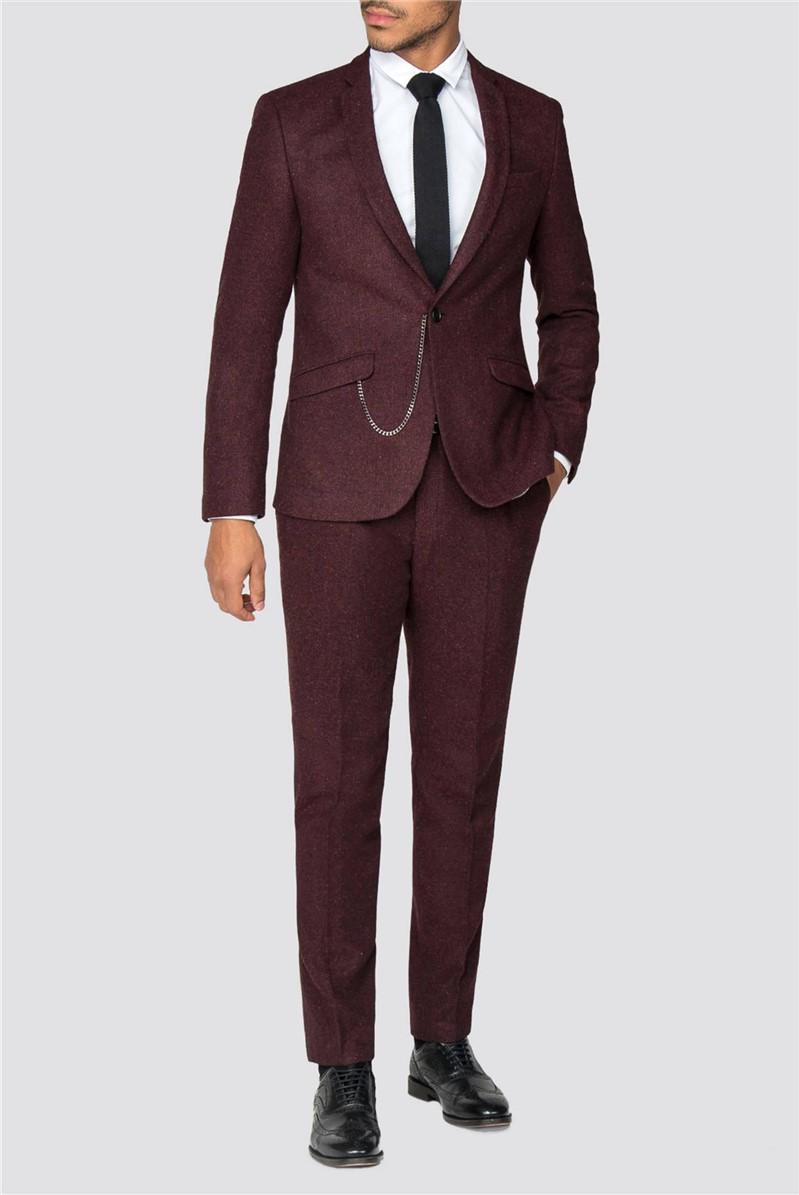 Mull Burgundy Herringbone Skinny Fit Jacket
