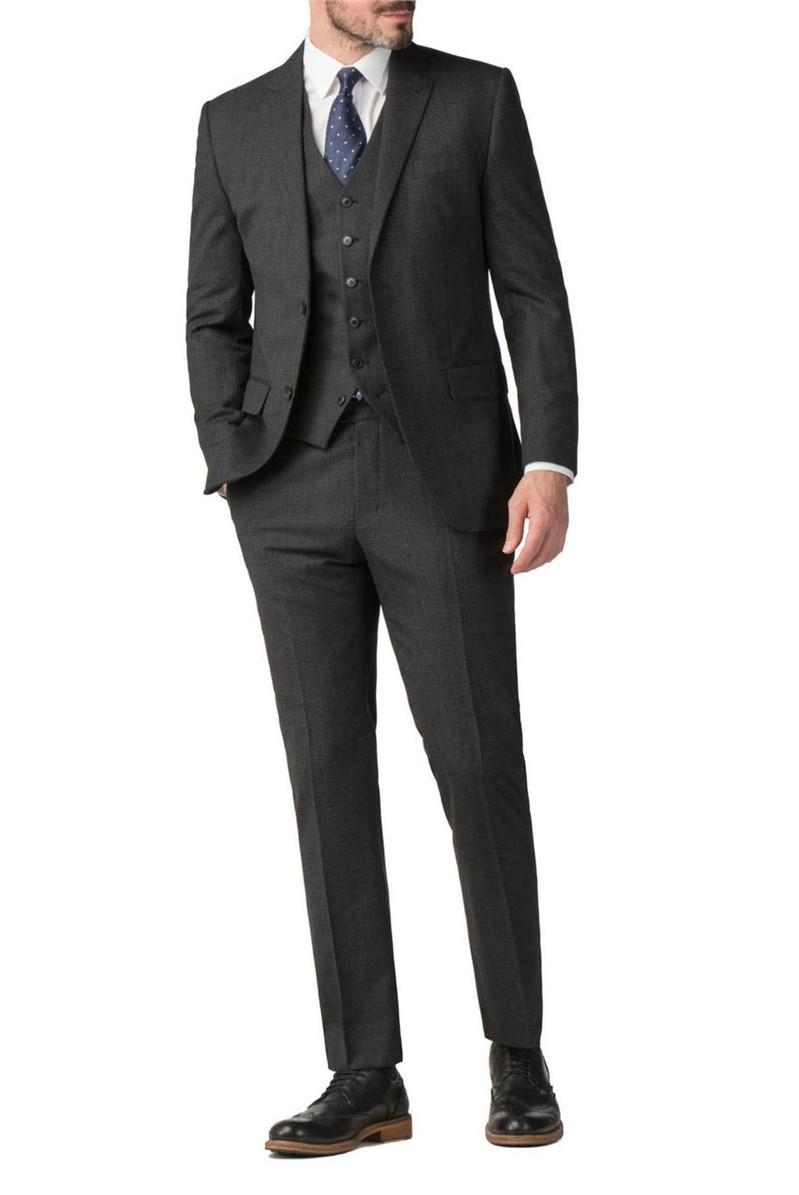 Charcoal Semi Plain Wool Blend Modern Regular Fit Suit