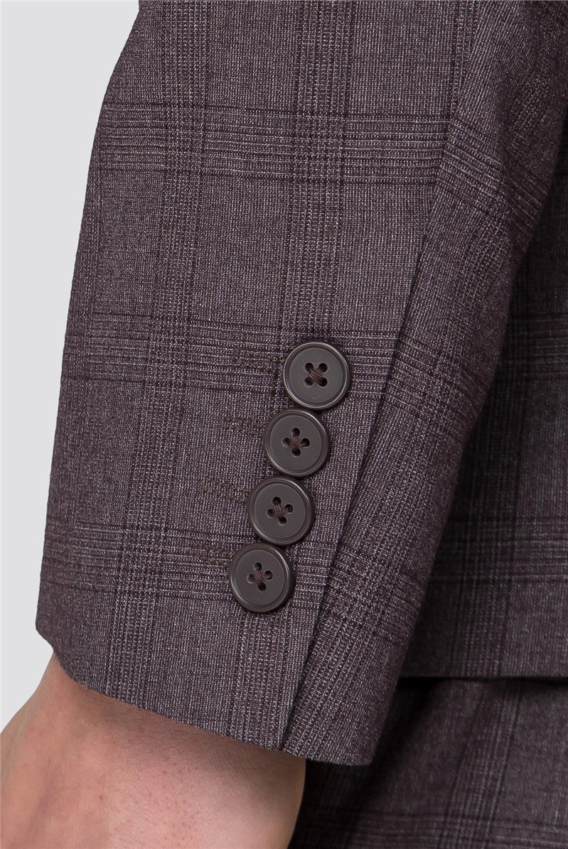 Rust Chambray Check Skinny Fit Trousers