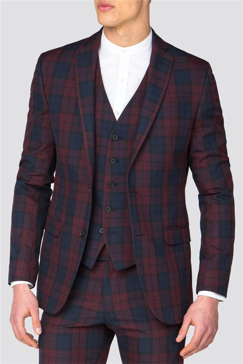 Plum Blue Check Slim Fit Suit Jacket