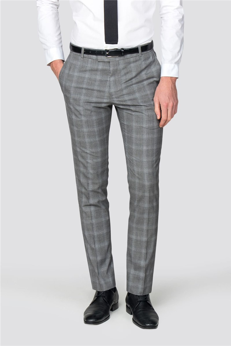 Grey Blue Check Slim Fit Trousers