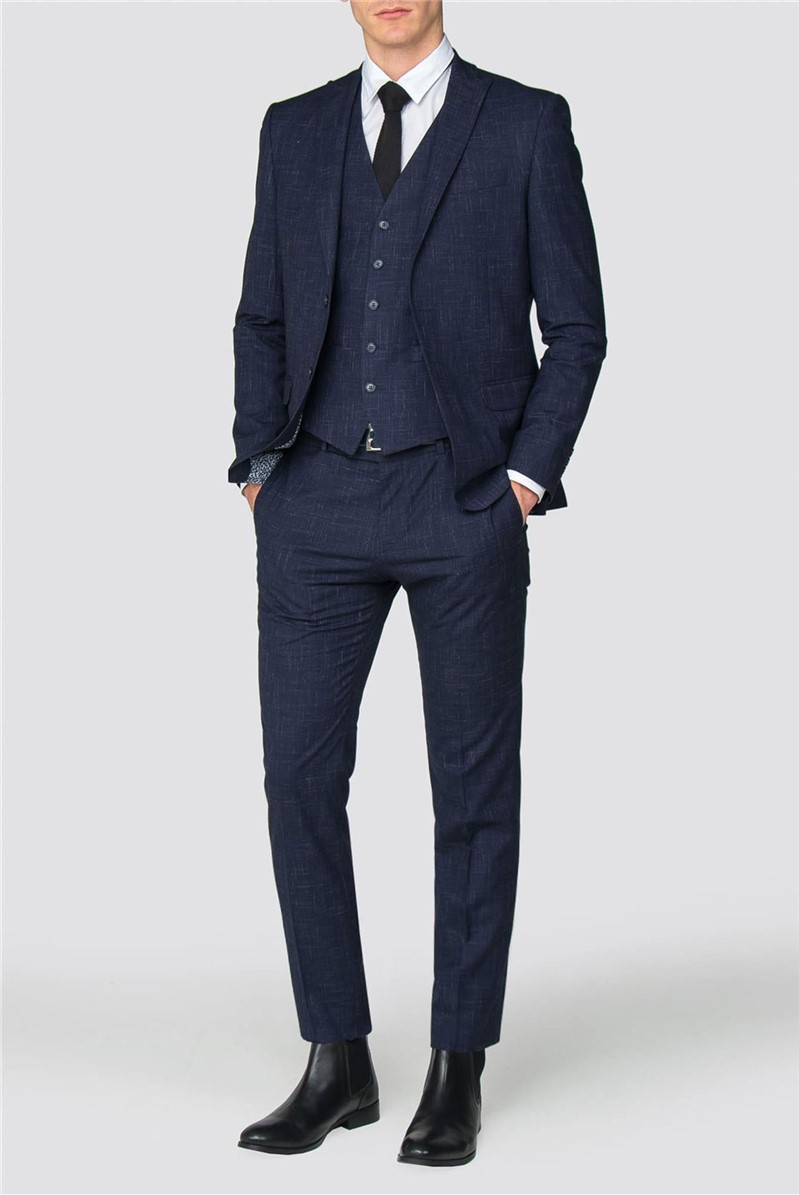 Navy Fleck Slim Fit Suit