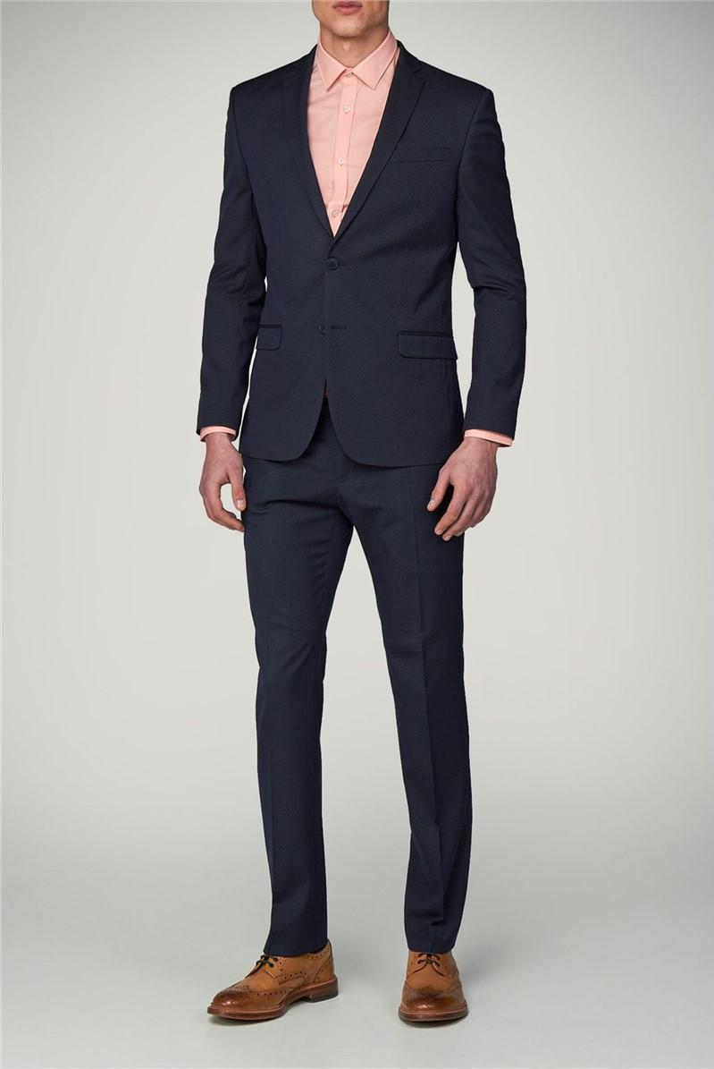 Navy Dot Super Skinny Suit Trouser