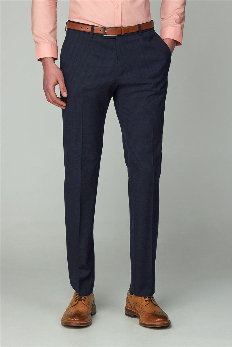 Navy Dot Super Skinny Suit Trouser