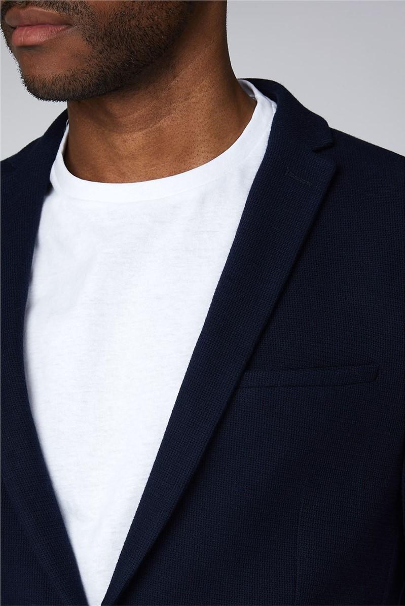 Navy Texture Jersey Jacket