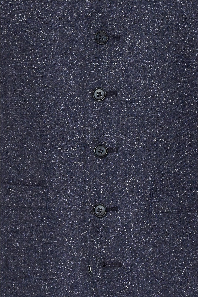 Airforce Blue Speckle Slim Fit Waistcoat