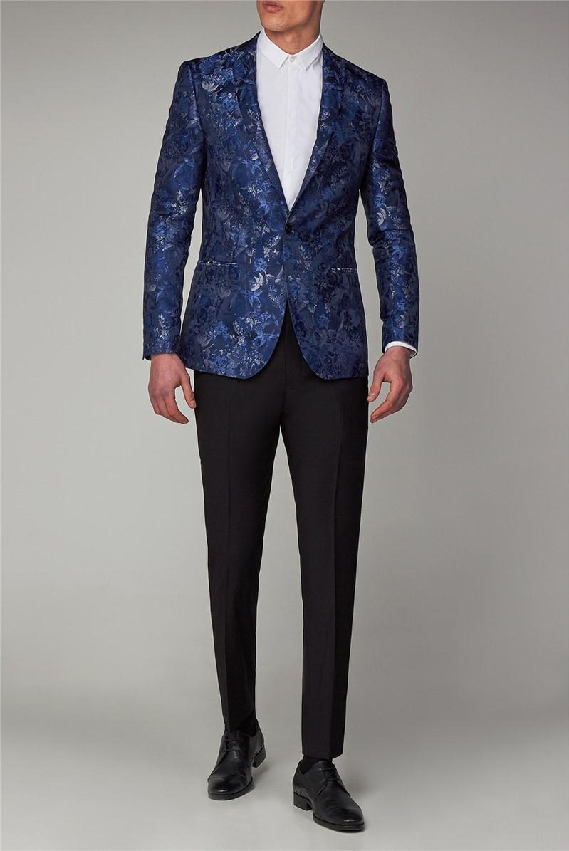 Navy Floral Slim Fit Dinner Suit