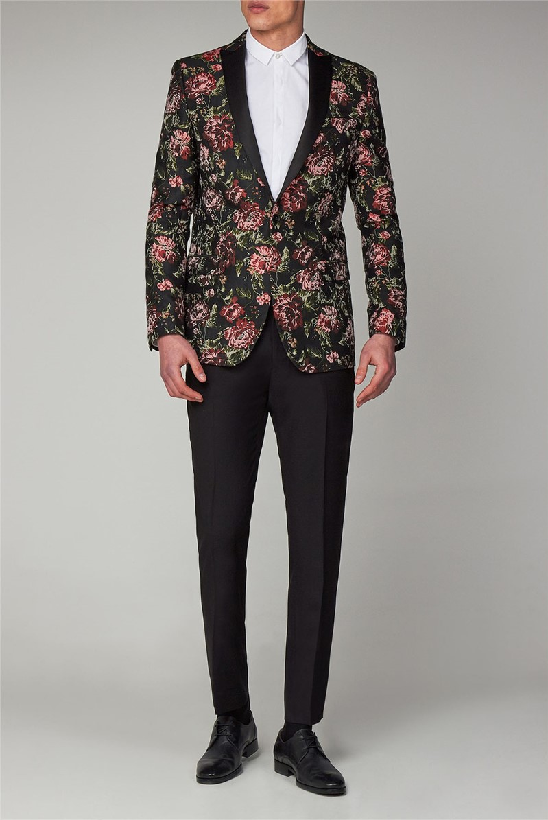 Black Red Floral Dinner Suit