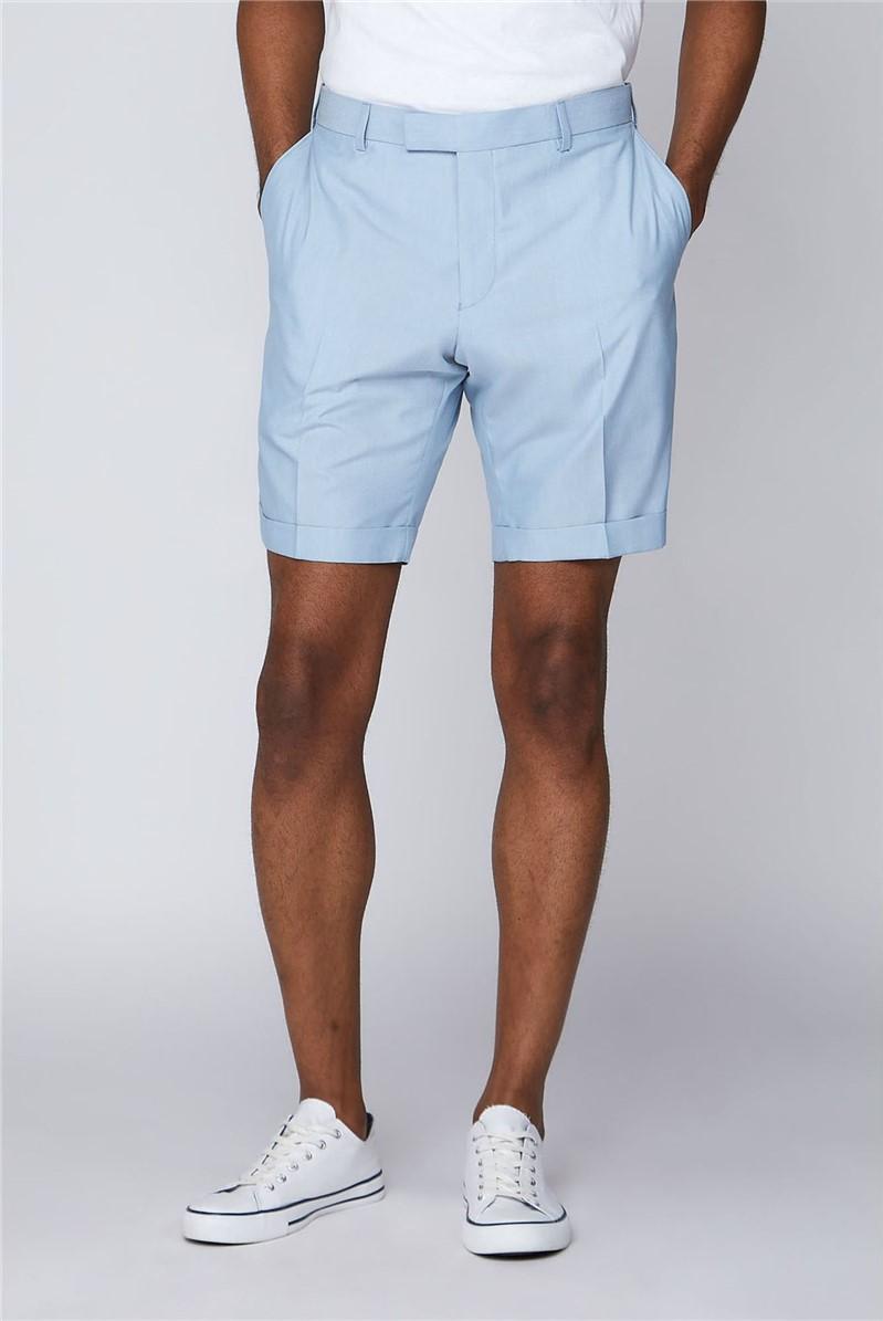 Pale Blue Slim Fit Formal Shorts