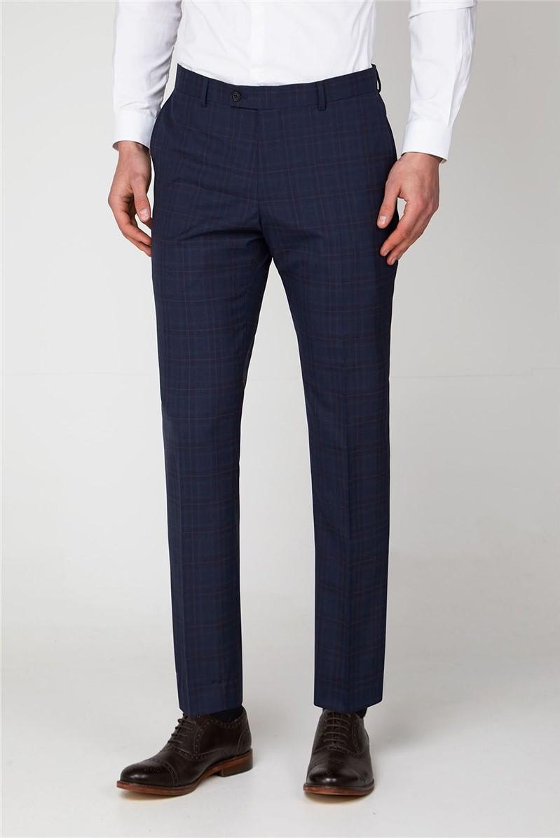 Navy Check Slim Fit Suit Trouser